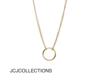 Circle Necklace, Simple, Dainty, 14kt Gold Filled