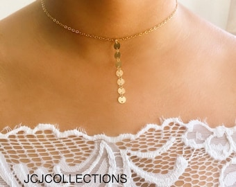 Gold Choker Necklace, Lariat Choker Necklace