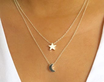Moon and Star Layered Necklace Set