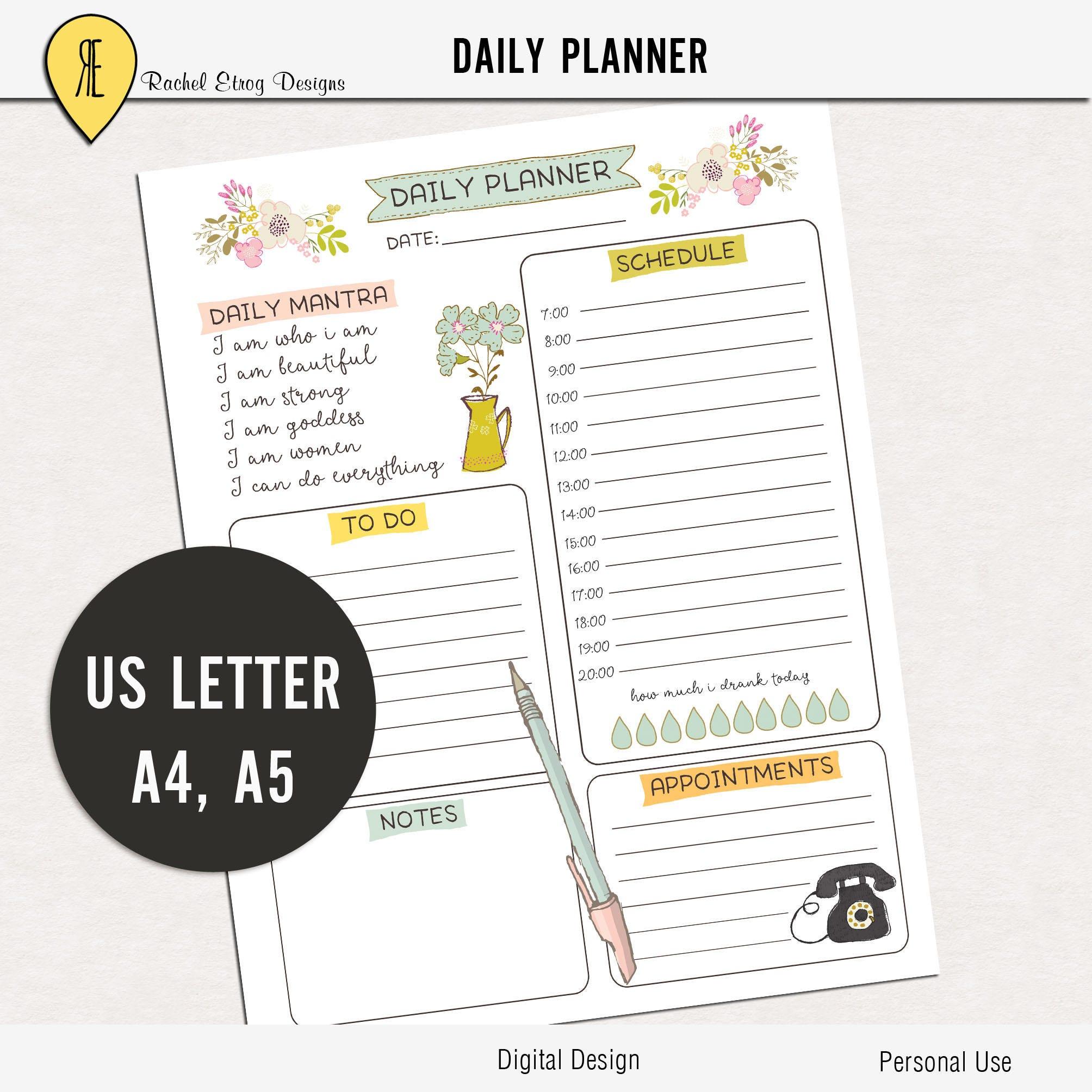 Tägliche Planer bedruckbar tägliche to do-Liste Kalender | Etsy