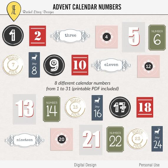 Numéros De Calendrier De Lavent Imprimable Stickers Pour Etsy