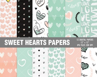 Heart digital papers, Valentine's digital paper, Love digital paper, Valentine's day hearts, Pink and blue digital papers, Scrapbook papers