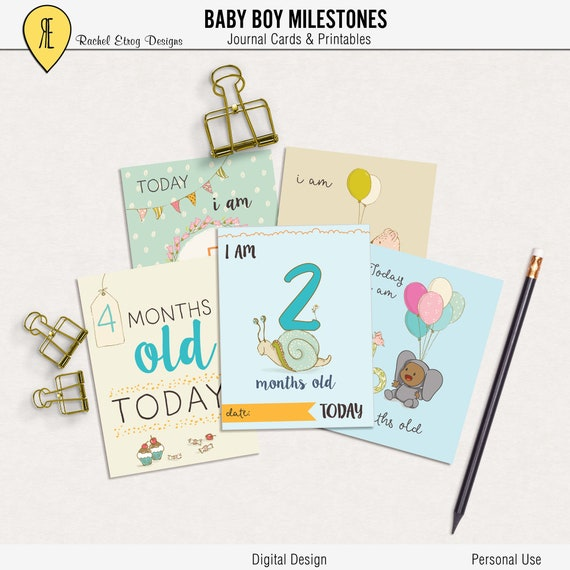 baby boy printable milestone project life cards baby boy etsy