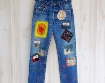 Patched Jeans Etsy