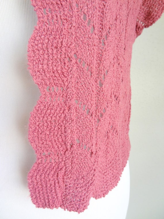 Vintage Mauve Crochet Knit Sweater Vest Cardigan - image 5
