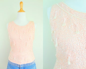 Vintage Soft Pink Pearl Beaded & Sequined Sleeveless Knit Top