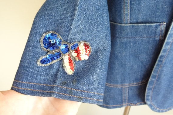 Vintage 70s Denim Fitted Hippie Jacket With Sequi… - image 4