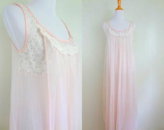 Vintage Pale Pink Gauzy Lace 60s Vanity Fair Nightgown