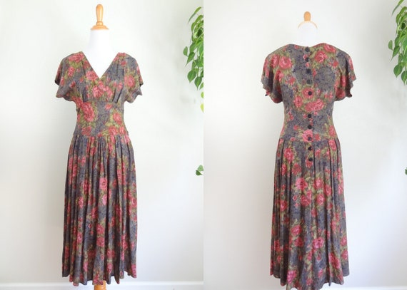 Vintage Romantic Rayon 90s Does 40s Rose Dress