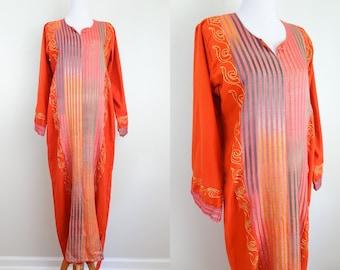 Vintage Gold & Rainbow Trim Embellished Rust Orange Dress // 70s Boho Hippie Maxi Kaftan Hippy Loungewear