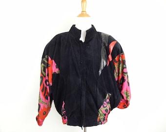Vintage 90s Fly Girl Black Suede Snakeskin & Contemporary Red Pink Floral Print Coat // Short Jacket