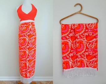 Vintage 60s Fringed Batik Tiki Sarong Wrap Skirt Swim Cover Up // Red Orange Pink White // Tropical Hawaiian