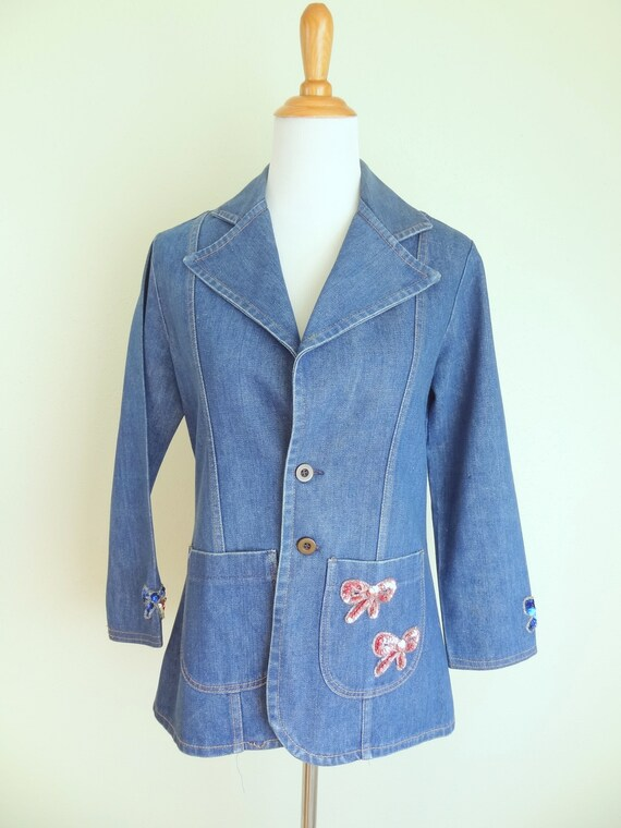 Vintage 70s Denim Fitted Hippie Jacket With Sequi… - image 2