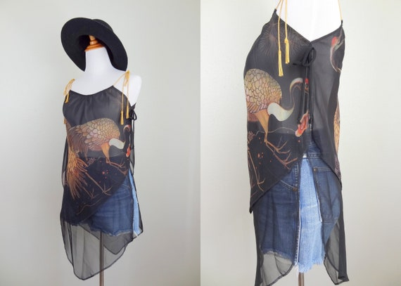 Vintage 70s Young Edwardian Black Sheer Tunic Top