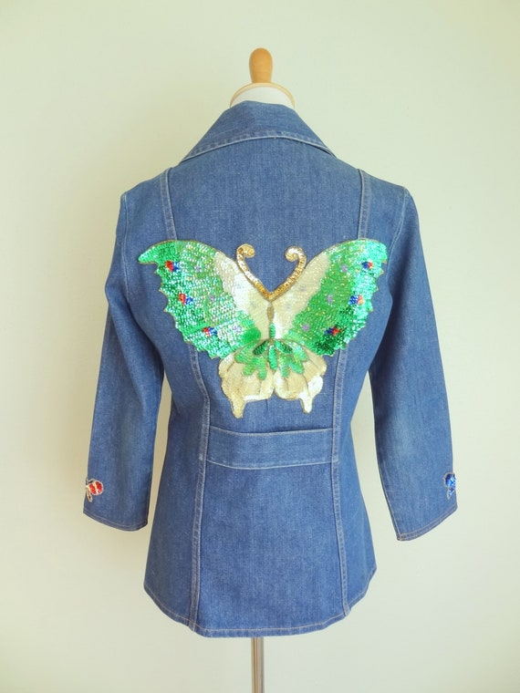 Vintage 70s Denim Fitted Hippie Jacket With Sequi… - image 6