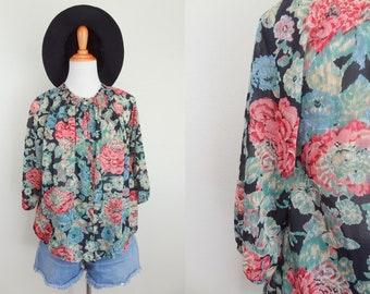 Vintage 70s Romantic Blooms On Black Button Up Blouse