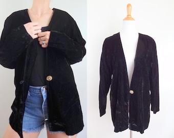 Vintage Drapey Black Velvet Blazer // Light Formal  Jacket