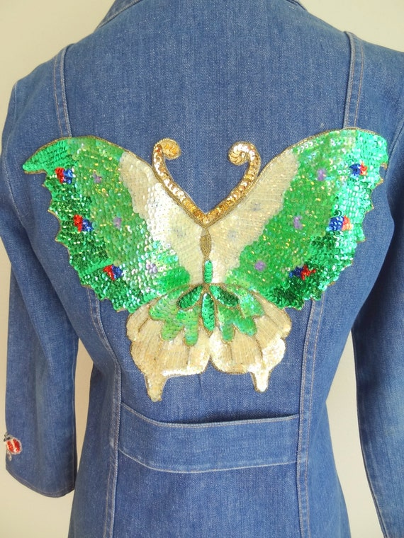 Vintage 70s Denim Fitted Hippie Jacket With Sequi… - image 8