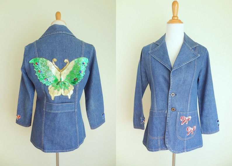 Vintage 70s Denim Fitted Hippie Jacket With Sequined Butterfly Patch