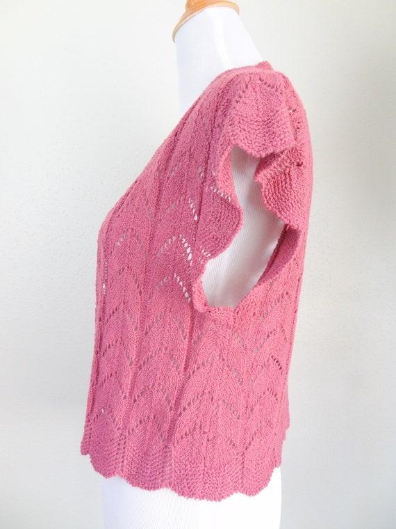 Vintage Mauve Crochet Knit Sweater Vest Cardigan - image 4