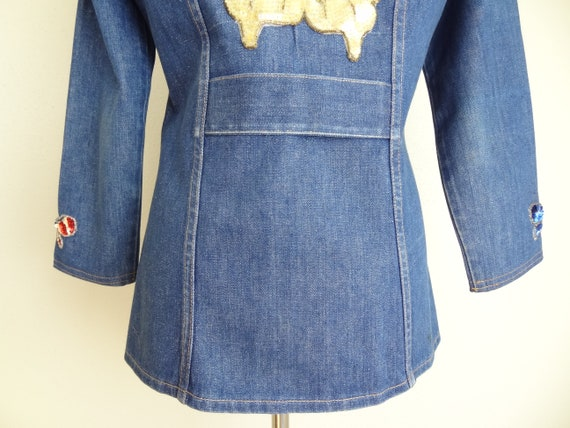 Vintage 70s Denim Fitted Hippie Jacket With Sequi… - image 9