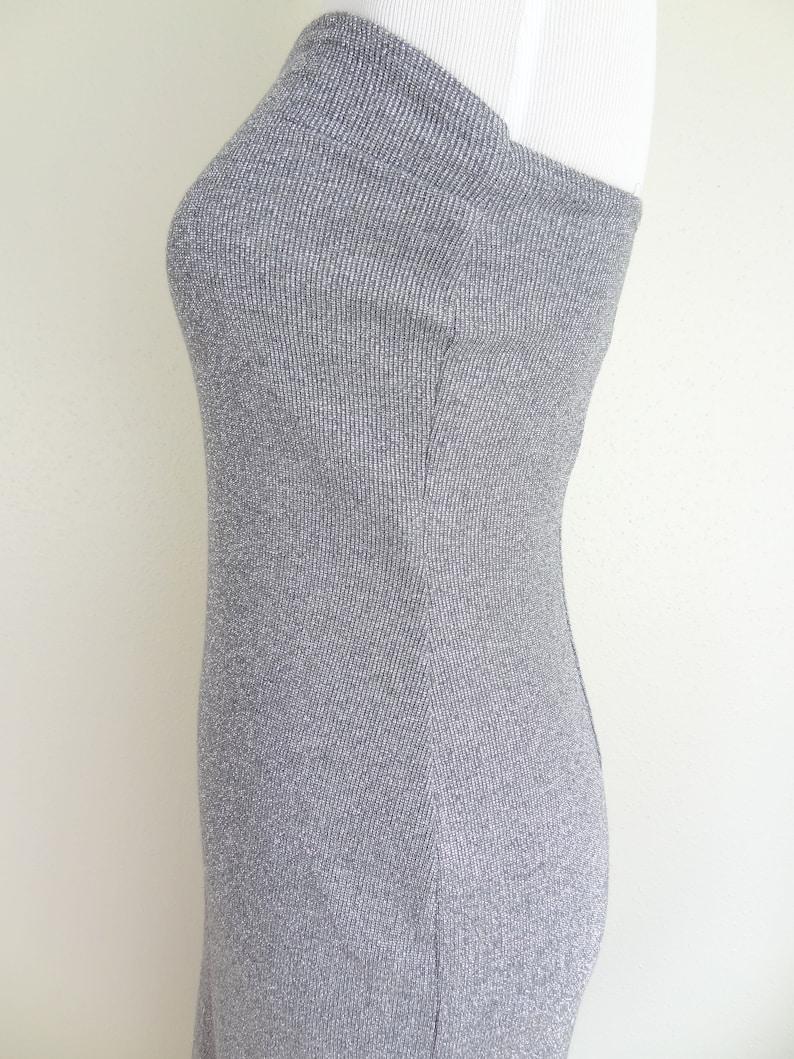 Vintage 90sY2K Jessica McClintock Gunne Sax Sparkly Silver Strapless Stretchy Body Con Minimal Maxi Dress