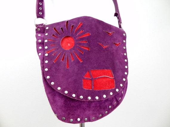 Vintage 60s Suede Purple & Red Handmade Purse/Cros