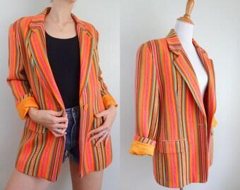 Vintage 90s Anne Klein Boho Power Blazer // Vibrant Neon Orange Pink Woven Wool Pattern