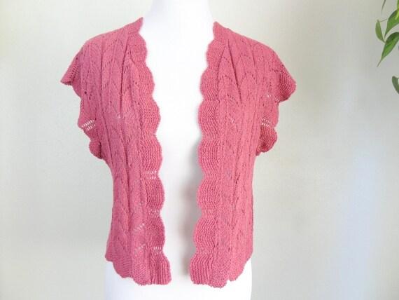 Vintage Mauve Crochet Knit Sweater Vest Cardigan - image 1