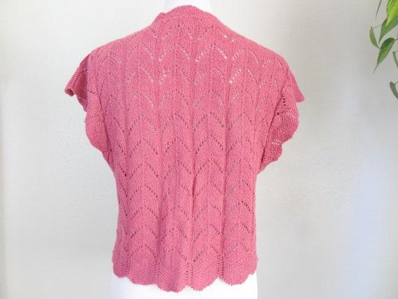 Vintage Mauve Crochet Knit Sweater Vest Cardigan - image 3