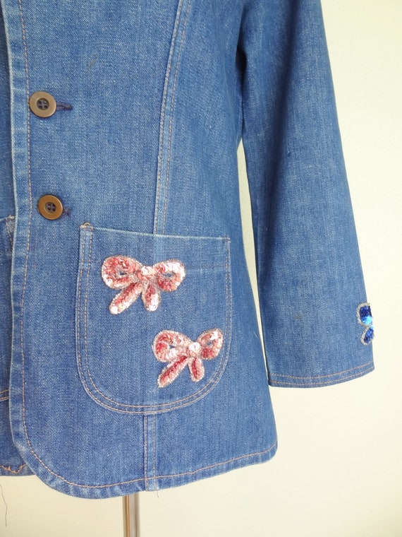 Vintage 70s Denim Fitted Hippie Jacket With Sequi… - image 3