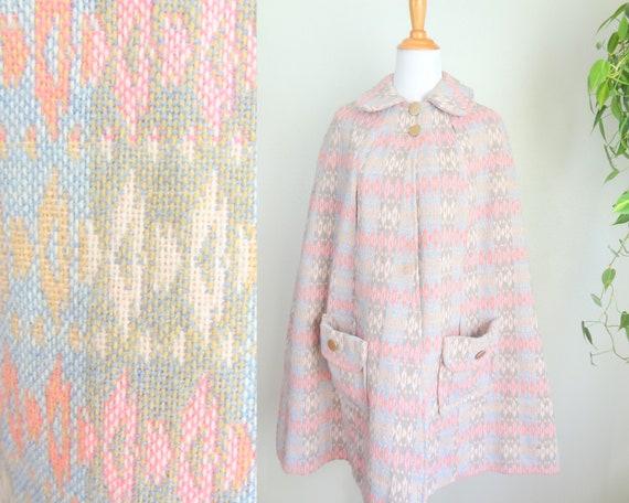Vintage 50s/60s Pink Patterned Tapestry Cape/Cloak