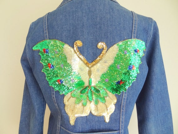 Vintage 70s Denim Fitted Hippie Jacket With Sequi… - image 7