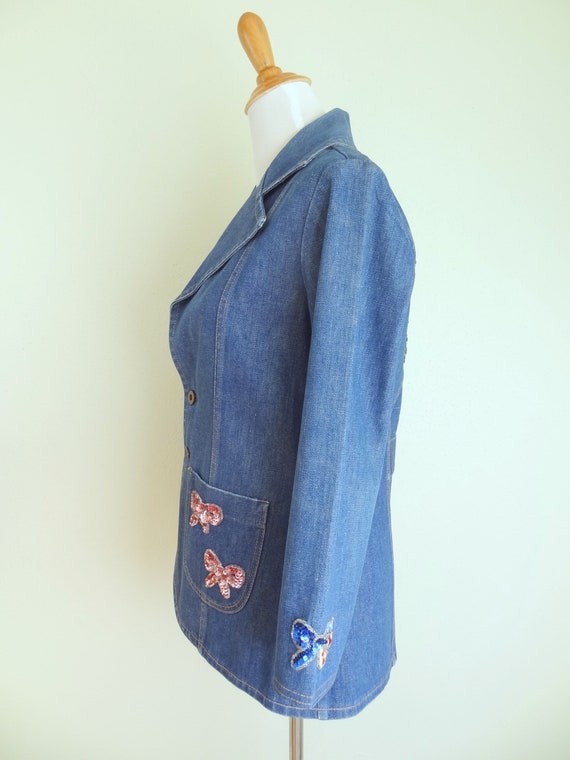 Vintage 70s Denim Fitted Hippie Jacket With Sequi… - image 5