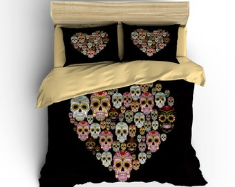 Sugar Skull Duvet Covers,Sugar Skulls Bedding Heart Bedding,Dia De Los  Muertos,rockabilly Bedding,Sugar Skull Duvets,Day Of The Dead.