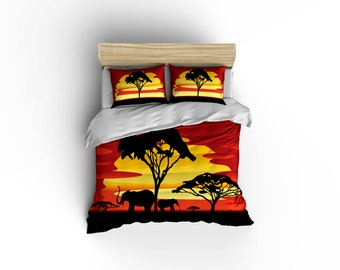 African Plains Elephants Duvet Covers,desert Season Duvet Covers,home  Decor,,bedroom Decor,American Made, Made In USA, African Culture