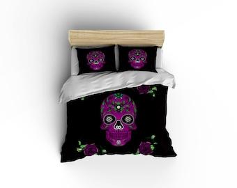 Sugar Skull Duvet Covers,home Decor, Bedding, Bedroom Decor,graphic Print  Bedding,rockabilly Comforter Cover,Purple Roses,Dia De Los Muertos