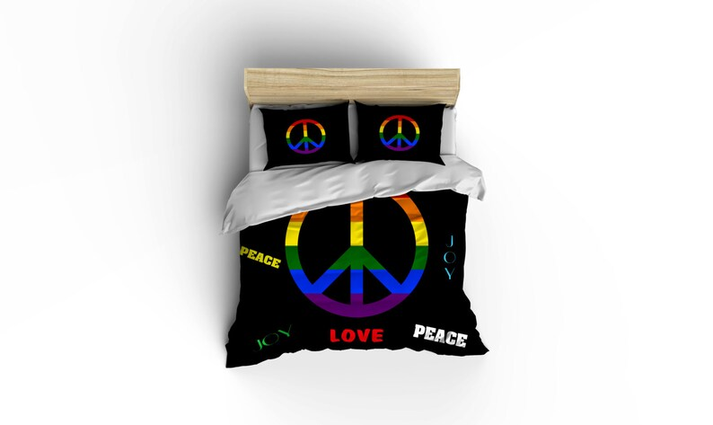 Peace Sign duvet covers, home decor, bedding, comforter covers, bedroom  decor,graphic print bedding,USA made, Made in USA, peace duvet cover