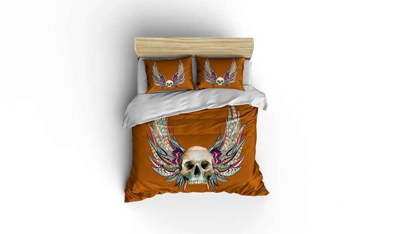 . Skull and Wings duvet covers  home decor Sugar skull bedding  bedroom  decor rockabilly comforter cover skulls roses  skulls floral bedding