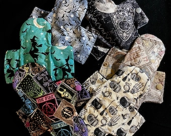 MADE TO ORDER Reusable cloth pad set period pads eco friendly gothic witchy Halloween pads