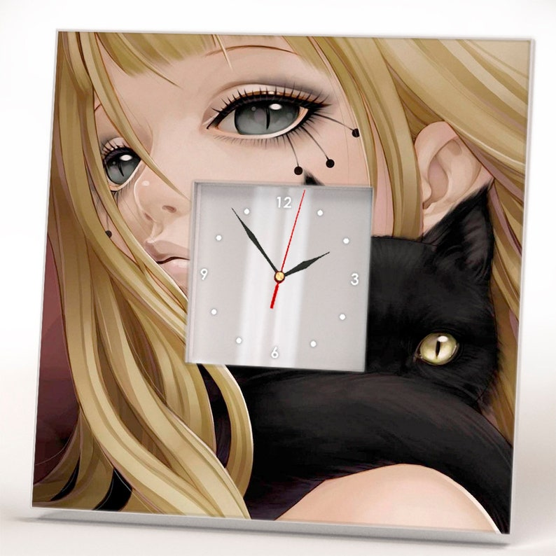 Kitty And Girl Wall Clock Framed Mirror Anime Cats Lover Etsy