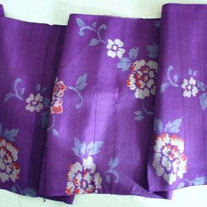 Bluish Purple Wild Rose Pattern  Plain Woven  Pre Dyed Ikat 20/'s Meisen \u9298\u4ed9 30/'s Japanese Vintage Kimono Silk Textile