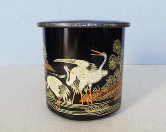 Japanese Vintage Old Tea Canister / Tin Box / Cookie Container with Traditional Lacquerware Style Embossed Crane and Pine Tree