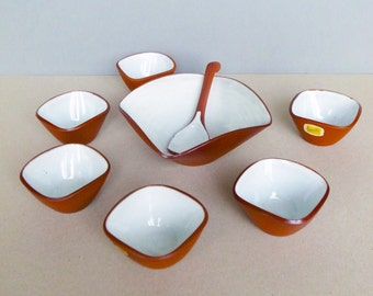 Dutch Vintage Mid Century Studio Pottery Jaap Ravelli Complete Snack Bowl Set with A Spoon No. 205