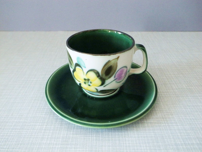 In The Mood Belgian Vintage Mod Flower Decoration Coffee  Tea Cup and Saucer in Original Box by Royale La Louvi\u00e8re Boch Hand Painted