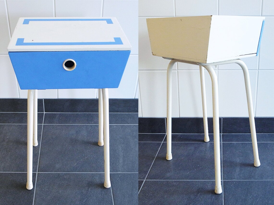 Mid Century Mod Vintage Side Cabinet / Table with Metal Legs and Wooden Cabinet