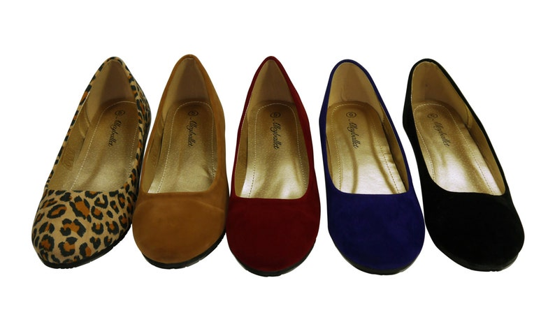 9119b63c957 Blue Velvet Hidden Wedge Ballerina Ballet Flat Shoes Secret