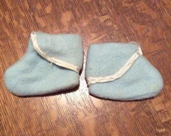 Blue Vintage Baby Booties