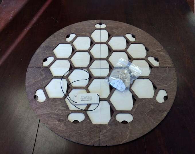 Walnut Stain 4 Player Catan Frame with movable port tiles splits into 4 parts for storage