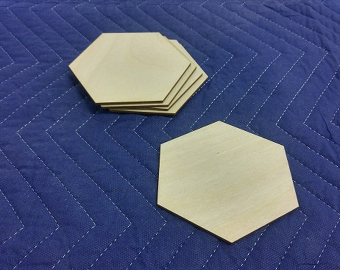 """Set of 20 1/8"""" thick Blank Large Wooden Hex Tiles"""